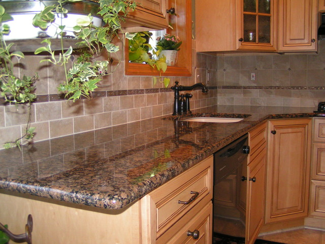 Baltic brown granite tile backsplash Tan kitchen backsplash