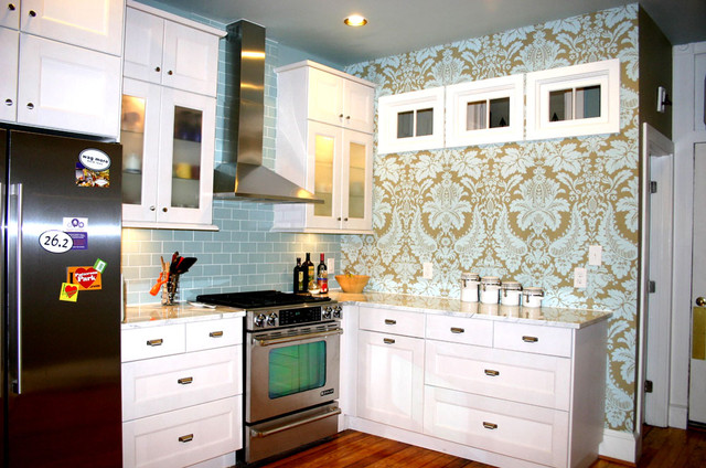 Baltimore Kitchen with Wallpaper eclectic-kitchen