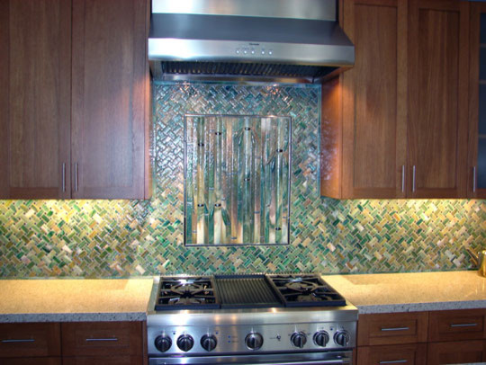 Bamboo And Diagonal Weave Backsplash: bamboo backsplash