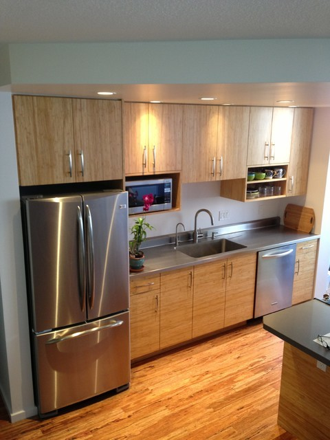 Bamboo and stainless steel contemporary kitchen for Bamboo kitchen cabinets