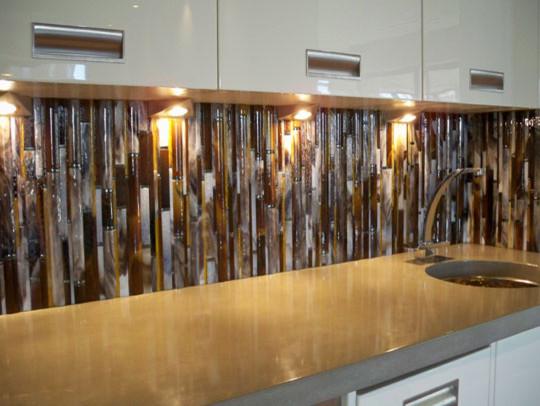 Bamboo Backsplash modern-kitchen