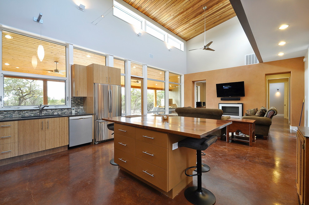 Bamboo Cabinets in open Contemporary Style kitchen ...