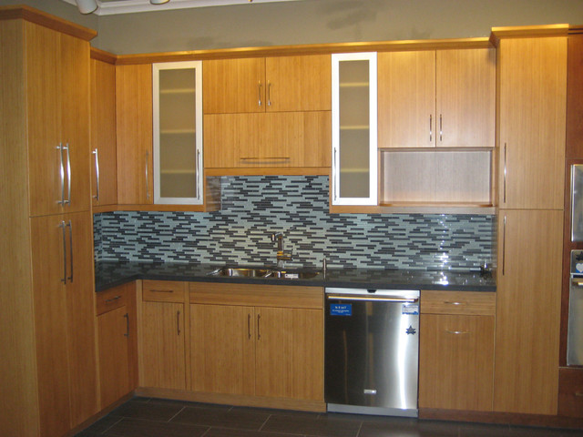 Bamboo Flat Panel Kitchen Cabinets - Contemporary ...
