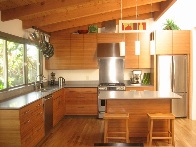 Bamboo ikea kitchen contemporary kitchen san for Kitchen cabinets houzz