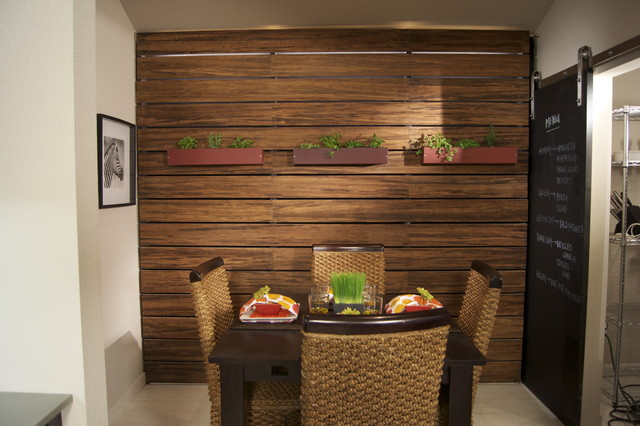 Bamboo Slat Wall with LED Lighting Kitchen by
