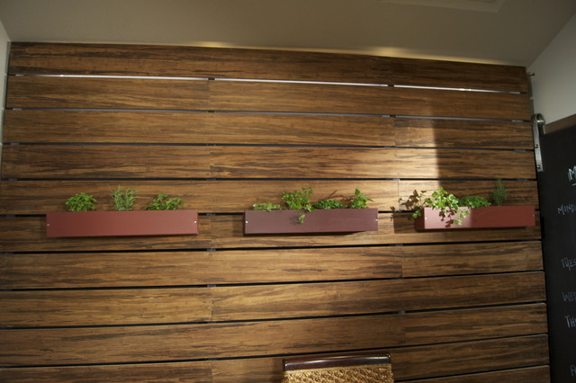 Bamboo Slat Wall With Led Lighting Contemporary