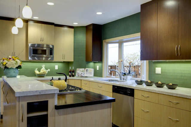Bamboo/Wenge Kitchen Cabinets By Crystal Contemporary Kitchen