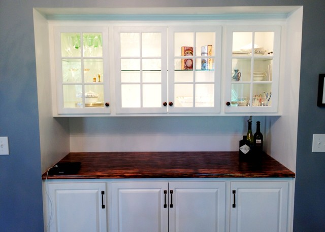 Bar cabinet built in traditional kitchen new york for Built in kitchen cabinets
