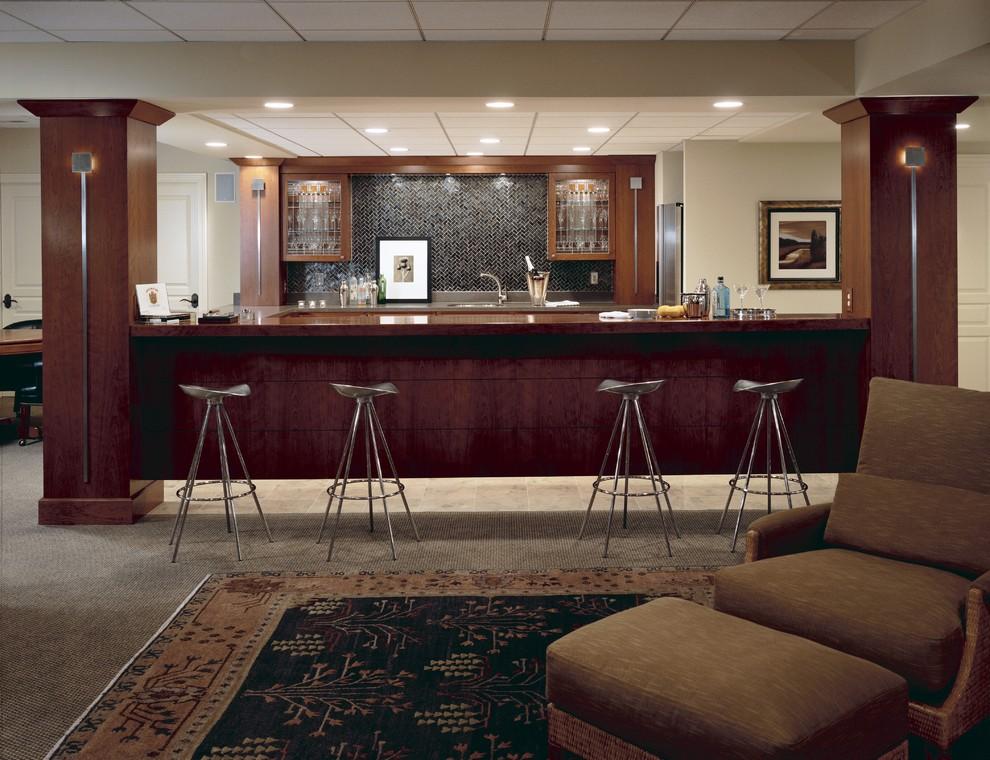 Inspiration for a transitional kitchen remodel in Detroit with glass-front cabinets, dark wood cabinets, black backsplash and mosaic tile backsplash