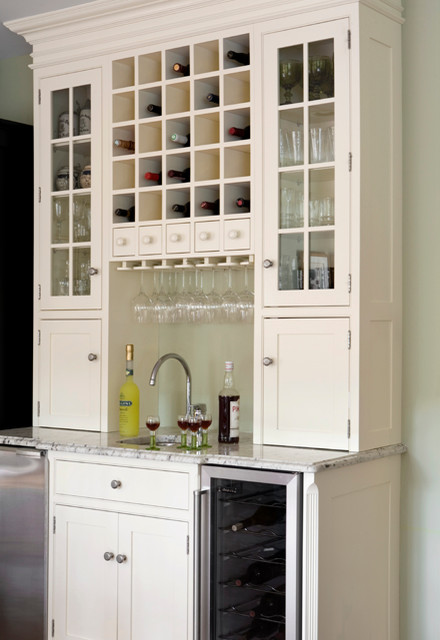Bar Or Beverage Centers Traditional Kitchen Boston