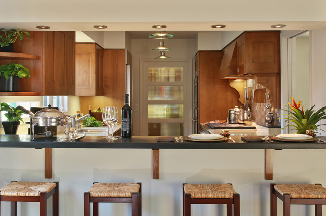Bar Seating with Kitchen and Pantry Beyond eclectic-kitchen