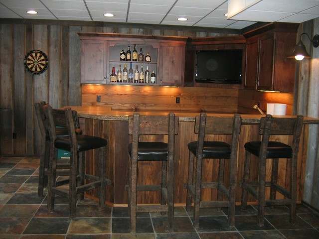 Bar styed as pub rustic kitchen cleveland by studio 76 kitchens and baths - Rustic bar ideas for basement ...