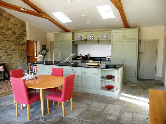 Country Galley Eat In Kitchen Photo In Dorset With Shaker Cabinets And  Green Cabinets