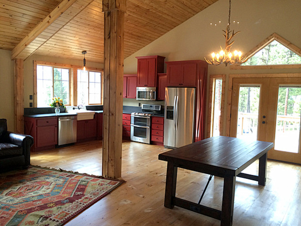 Barn pros denali barn apartment rustic kitchen for Barn plans with loft apartment