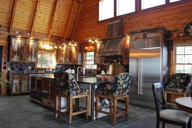 Barnwood Kitchen for Log Home rustic-kitchen