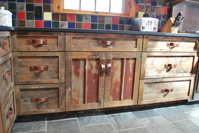 Barnwood Kitchen For Log Home Rustic
