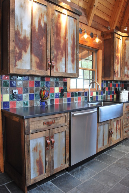 Barnwood Kitchen for Log Home - Rustic - Kitchen - Other ...