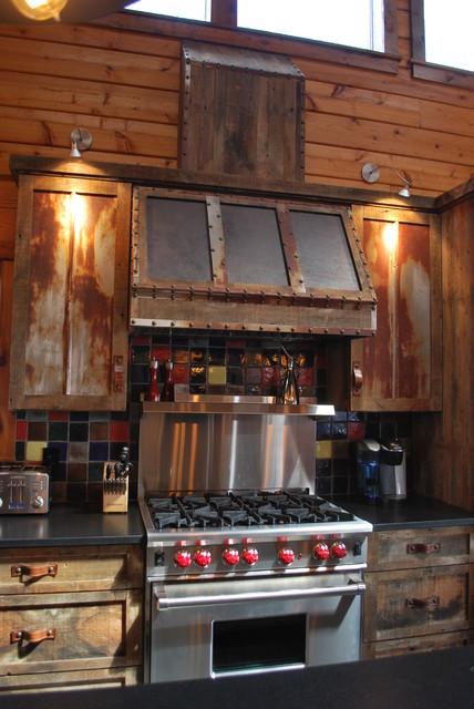 Barnwood Kitchen For Log Home Rustic Kitchen
