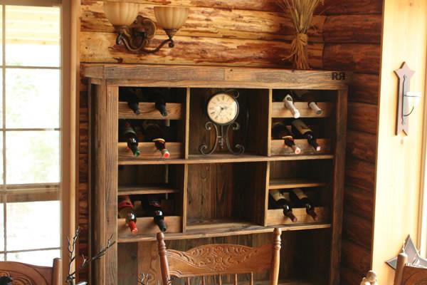 Barnwood wine shelf traditional kitchen st louis for Traditional kitchen shelves