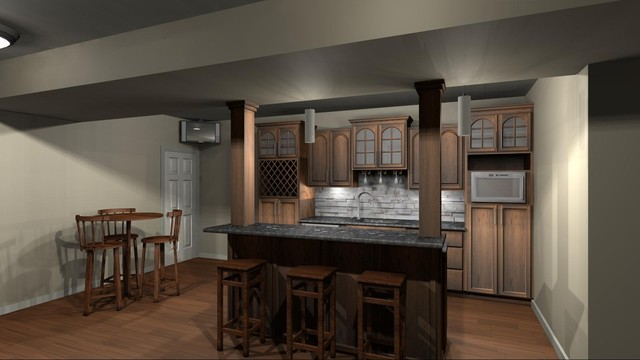 Basement Bar Design Olathe - mediterranean - kitchen - kansas city