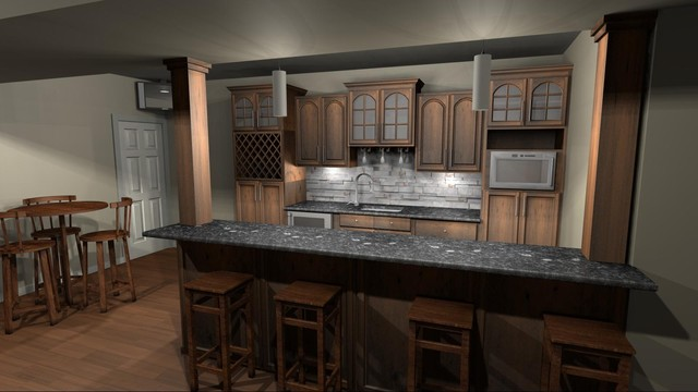Basement Bar Design - Olathe - mediterranean - kitchen - kansas