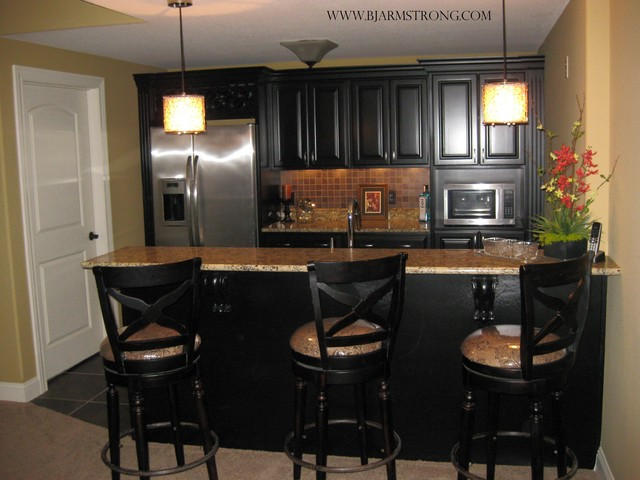 Basement Wet Bar With Granite Countertops And Stainless