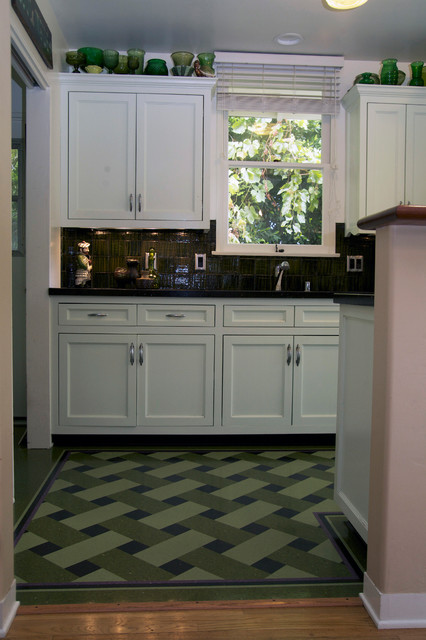 Basket weave tile traditional kitchen los angeles for Flooring los angeles