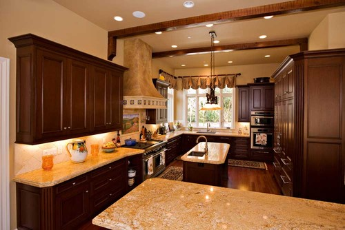 Bay area traditional kitchen design with mahogany custom cabinetry