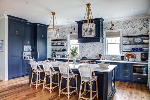 White kitchen featuring blue coastal accents