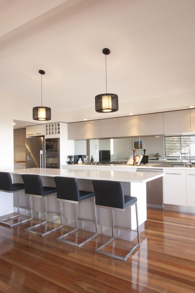 Kitchen - contemporary single-wall kitchen idea in Brisbane