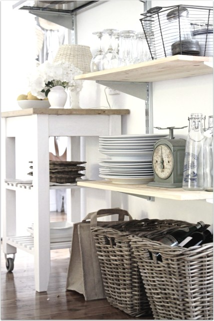Cottage Breakfast Room Open Industrial Style Shelving Traditional