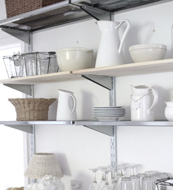 Industrial Kitchen Shelving: Beach Cottage Breakfast Room Open Industrial Style