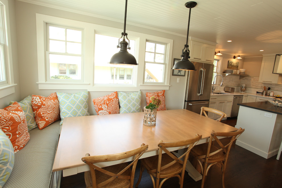 Inspiration for a coastal eat-in kitchen remodel in Philadelphia with shaker cabinets