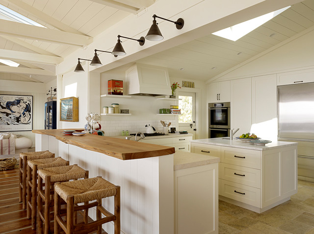 Large beach style open concept kitchen designs - Inspiration for a large  beach style u-
