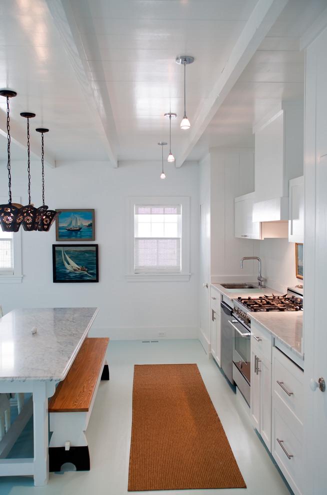 Kitchen - beach style white floor kitchen idea in Philadelphia with stainless steel appliances