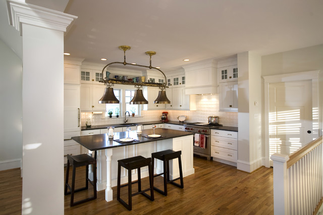Example Of A Coastal L Shaped Eat In Kitchen Design In Philadelphia With  Recessed