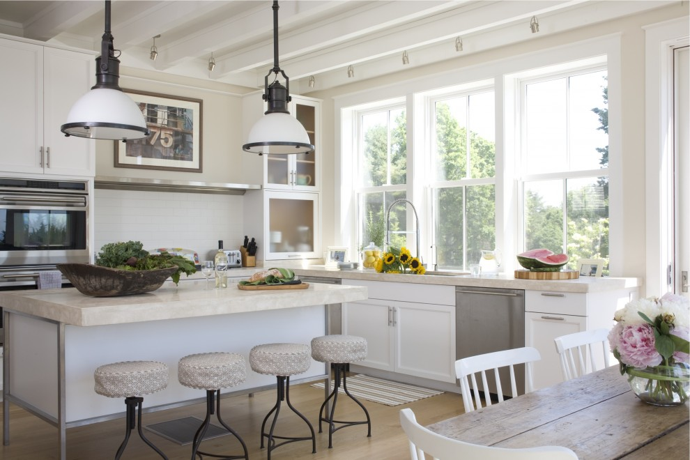 Example of a beach style kitchen design in Providence
