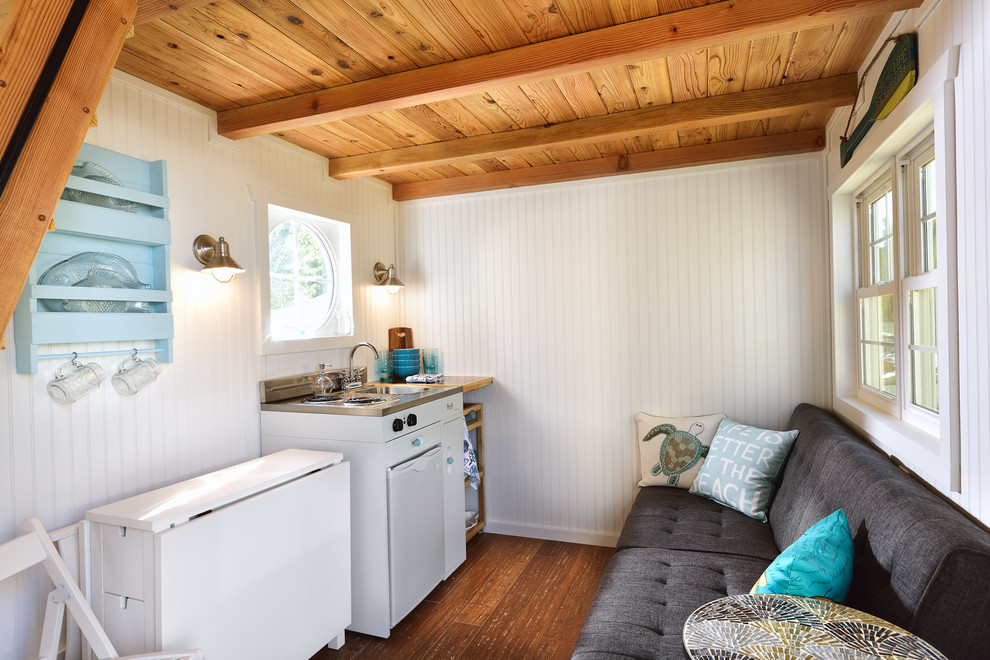 Example of a small beach style bamboo floor kitchen design in Portland