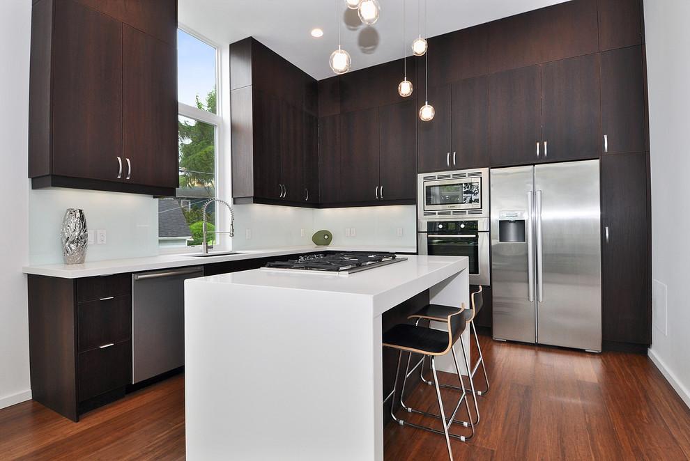 现代阳台改厨房橱柜平面图