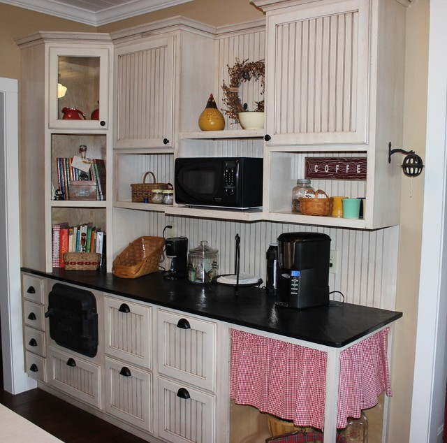 Bead Board Cabinets With Angled Corner Cabinet