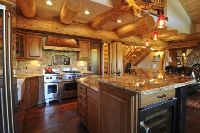 Bear creek cabin rustic kitchen denver by mountain for Log cabin kitchen backsplash ideas