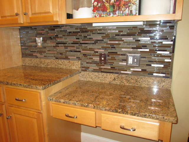 Beautiful glass and copper backsplash mediterranean for Accents salon bentonville ar