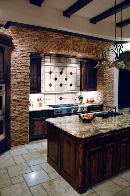 Beautiful Mountain Strip Stone Veneer Kitchen - Coronado Stone Products - Traditional - Kitchen ...