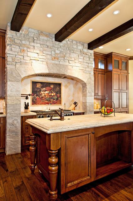 Beautiful Old World Kitchen With Elegant Backsplash