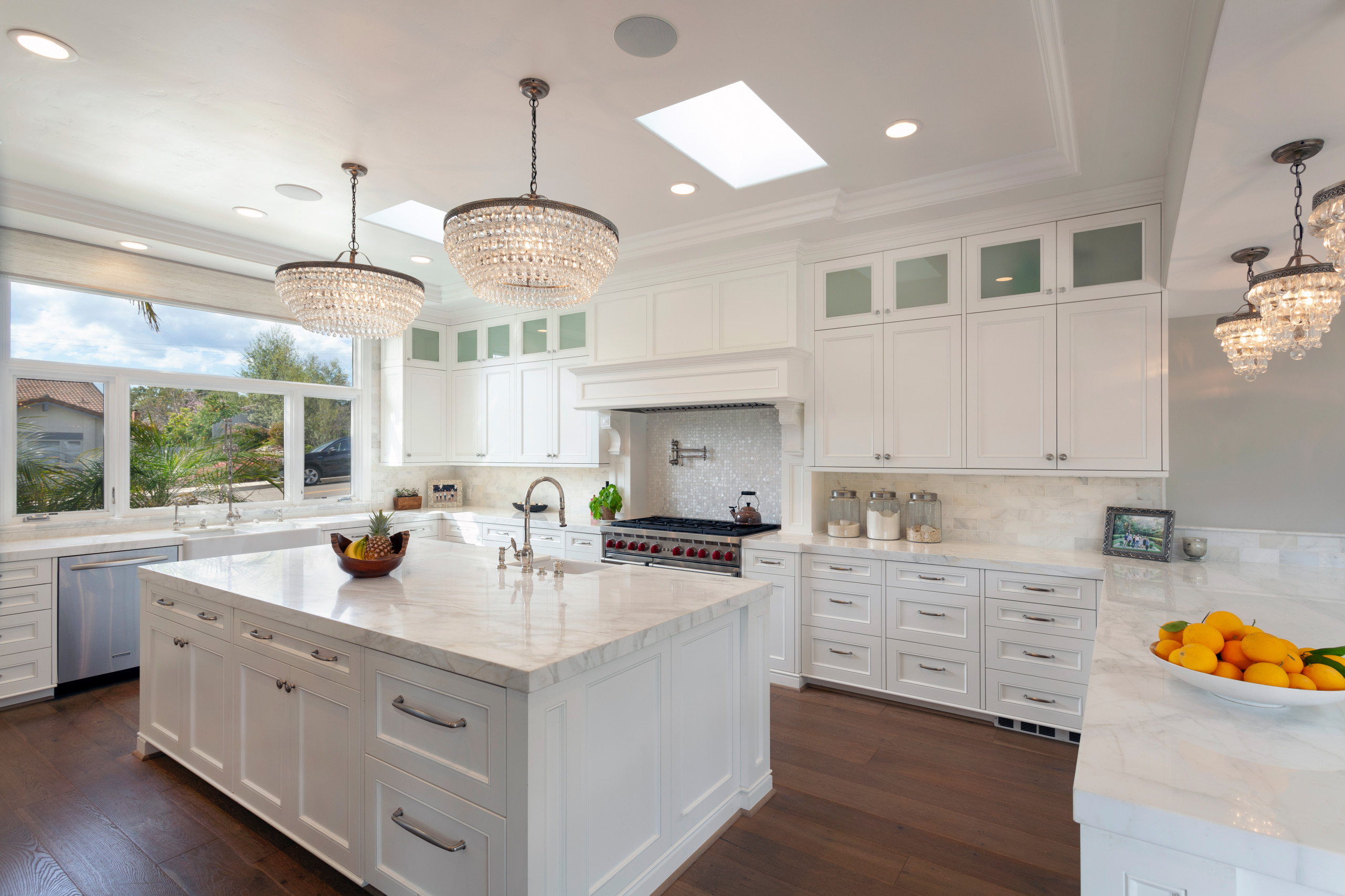 White Kitchen Cabinets With Brown Wood Floors - Kitchen ...