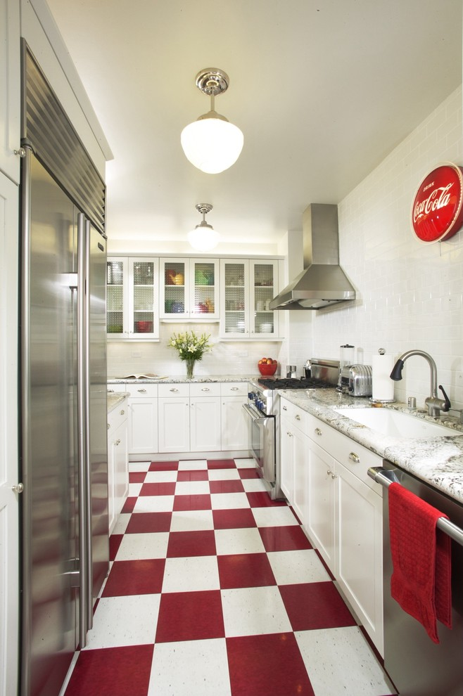 Kitchen With Red White Floors Plus