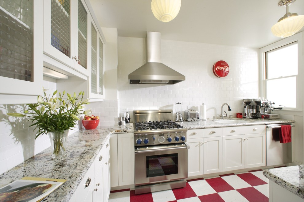 Beautiful White Kitchen With Red White Floors Plus Red