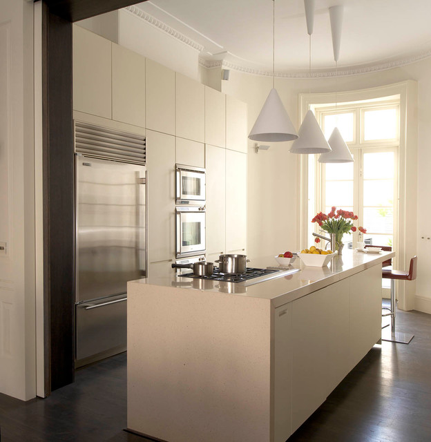 Inspiration for a contemporary galley dark wood floor kitchen remodel in London with flat-panel cabinets, white cabinets, stainless steel appliances and an island