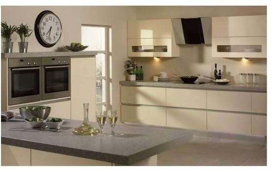 Bella venice kitchen in high gloss cream contemporary for Modern cream kitchen cabinets