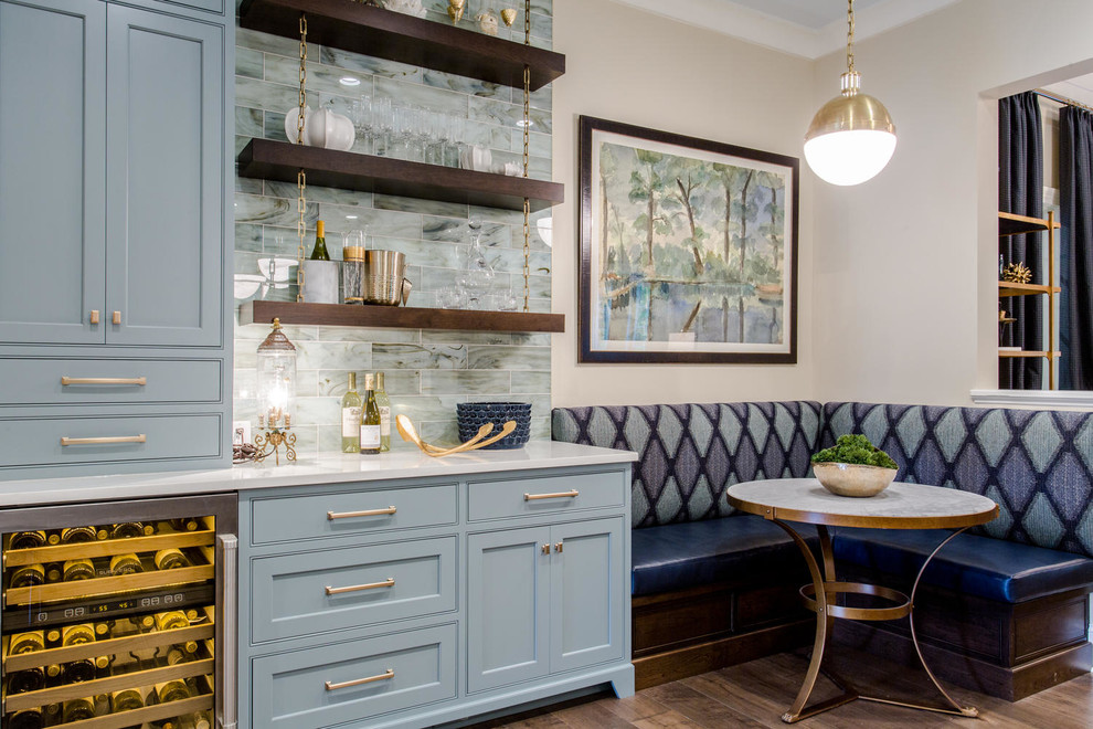 Inspiration for a transitional dark wood floor eat-in kitchen remodel in Richmond with beaded inset cabinets, blue cabinets, blue backsplash, an undermount sink, quartz countertops and an island